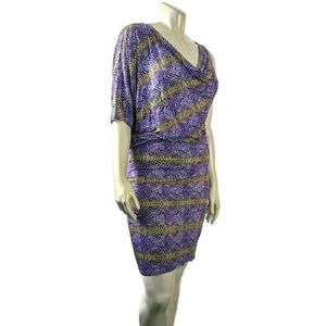 Med BCBGMAXAZARIA Purple Animal Print Dress
